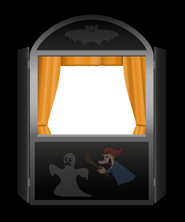 toy story: Puppet show booth with empty viewing window - spooky halloween version - black background.