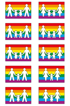 foster: LGBT family icons on pride flag colored background - various families with homosexual parents and Their daughters and sons.
