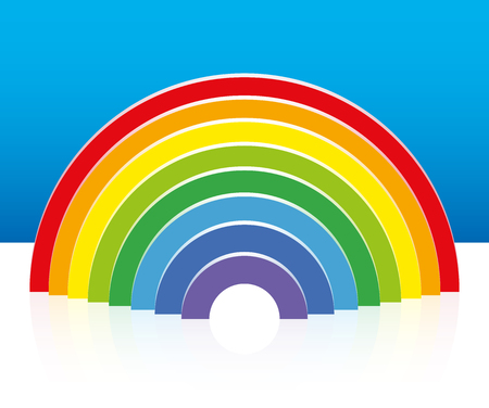 building bricks: Rainbow built with colorful semicircular building bricks - three-dimensional vector illustration. Illustration