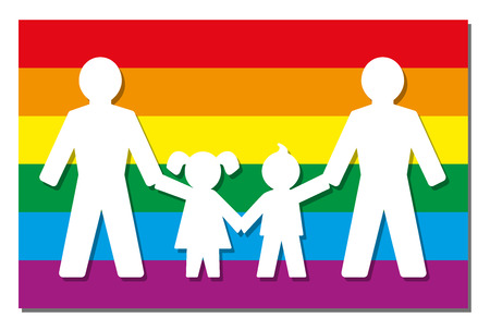 two child: LGBT parents - two dads with daughter and son - icon on pride flag. Illustration