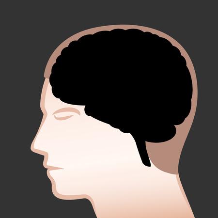 Zwarte hersenen - symbool voor depressie en donkere gedachten.