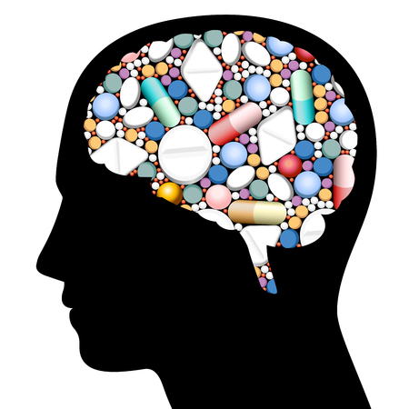 Brain filled with pills, capsules and tablets.