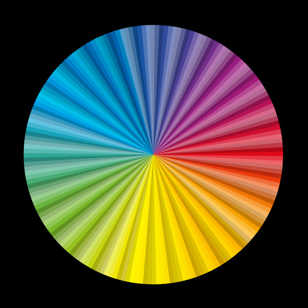 coloured background: Circular color gradient fan chart on black background - vector illustration.