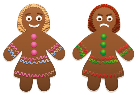 Gingerbread woman - one is happy, the other is angry - pros and cons.