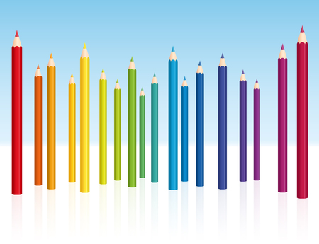 Crayons - colored pencil collection - vector illustration on white background. Illustration