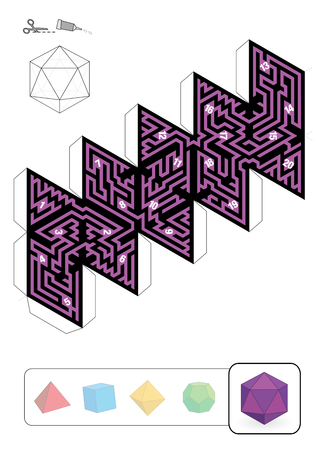 solid figure: Icosahedron MAZE - template of one of five platonic solid labyrinths - Print on heavy paper, cut it out, make a 3d model and find the right way from 1 to 20th Vettoriali