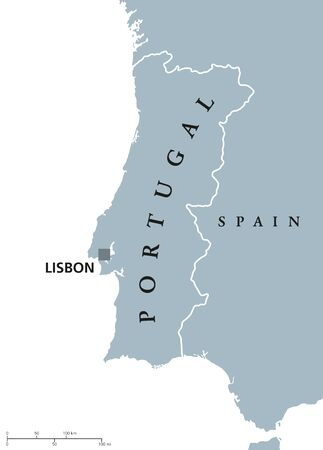 iberian: Portugal political map with capital Lisbon and neighbor countries. Republic on the Iberian Peninsula in Southwestern Europe. Gray illustration with English labeling on white background. Vector. Illustration