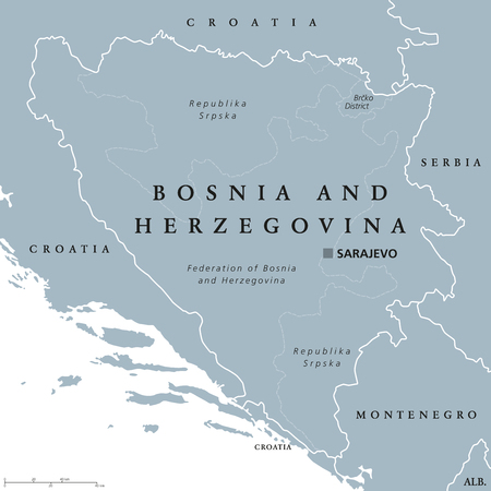 Bosnia and Herzegovina political map with capital Sarajevo. Country in Southeastern Europe located on the Balkan Peninsula. Gray illustration with English labeling on white background. Vector. Illustration