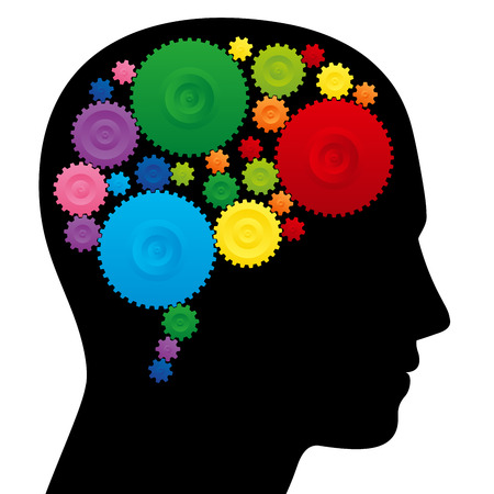 creativity symbol: Brain with colorful cog wheels, as a symbol for creativity, ingenuity or intelligence.
