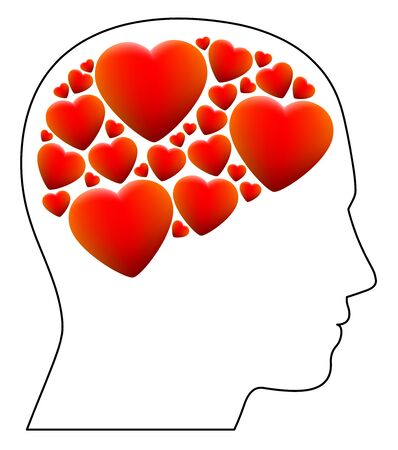 Falling in love - symbolized by a head full with hearts instead of brain - illustration on white background.
