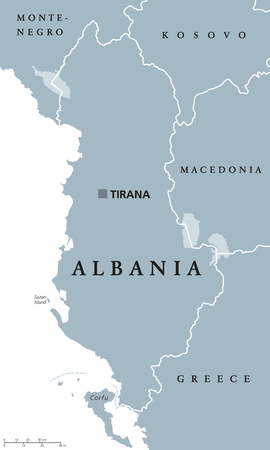 sovereign: Albania political map with capital Tirana, national borders and neighbor countries. Republic and sovereign state in Southeastern Europe on Balkan peninsula. Gray illustration, English labeling. Vector