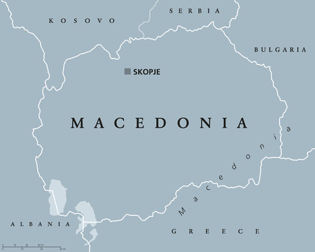former yugoslavia: Macedonia political map with capital Skopje and neighbor countries. Republic in Southeastern Europe on Balkan peninsula. Former Yugoslav Republic of Macedonia. Illustration. English labeling. Vector. Illustration