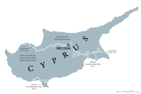 Cyprus political map with capital Nicosia. Republic and island country in the Eastern Mediterranean. Cyprus and Turkish administrated area. Gray illustration with English labeling over white. Vector.
