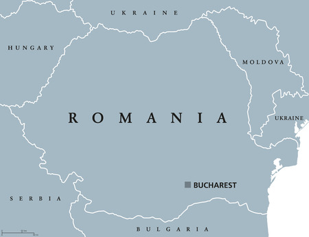 Romania political map with capital Bucharest, national borders and neighbor countries. Sovereign sate in Eastern Europe. Gray illustration with English labeling, isolated on white background. Vector. Illustration