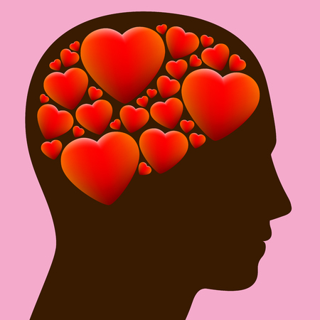 madly: Lovestruck - head full with hearts instead of brain - illustration on rosy background.