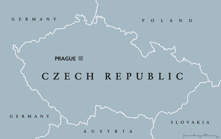czechia: Czech Republic political map with capital Prague, national borders and neighbor countries. Also Czechia, a landlocked nation state in Central Europe. Gray illustration with English labeling. Vector.
