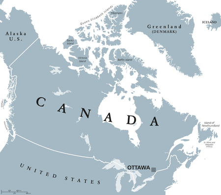 Canada political map with capital Ottawa, national borders and its neighbors. Country in northern half of North America. Gray illustration with English labeling, isolated on white background. Vector. Иллюстрация