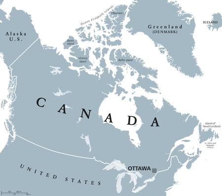 Politieke kaart van Canada met hoofdstad Ottawa, nationale grenzen en zijn buren. Land in de noordelijke helft van Noord-Amerika. Grijze illustratie met Engelse etikettering, geïsoleerd op een witte achtergrond. Vector.