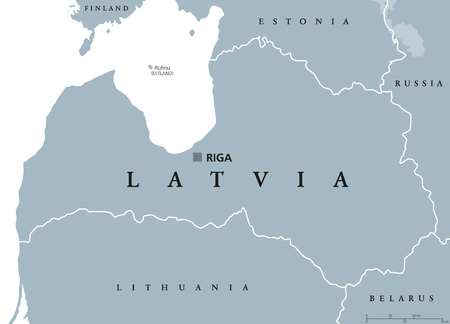 Latvia political map with capital Riga, national borders and neighbor countries. Republic in Northern Europe, one of the three Baltic states. Gray illustration over white, English labeling. Vector.