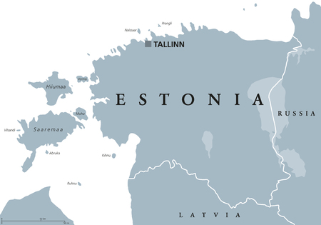 Estonia political map with capital Tallinn, national borders and neighbor countries. Republic in Northern Europe, one of the three Baltic states. Gray illustration over white, English labeling. Illustration