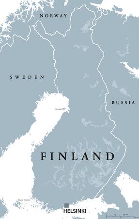 Finland political map with capital Helsinki, national borders and neighbor countries. Republic and state in Northern Europe. Gray illustration, English labeling, isolated on white background. Vector. Illustration