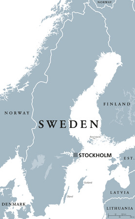 Sweden political map with capital Stockholm, national borders and neighbors. Kingdom and Scandinavian country in Northern Europe. Gray illustration with English labeling, isolated over white. Vector.