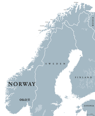 Norway political map with capital Oslo, national borders and neighbors. Kingdom and Scandinavian country in Northern Europe. Gray illustration, English labeling, isolated on white background. Vector.