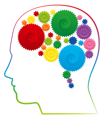 Ingenuity, creativity and intelligence Depicted with a brain with colorful cog wheels. Isolated vector illustration on white background.