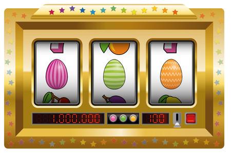 opulence: Easter egg slot machine. Isolated vector illustration on white background. Illustration