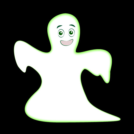 child laughing: Young cute ghost glowing in the dark - vector illustration on black background.