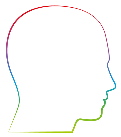 Head, profile view - colored outline vector illustration on white background. Ilustração