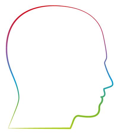 Hoofd, profielmening - gekleurde overzichts vectorillustratie op witte achtergrond.