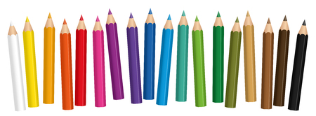 color pencils: Crayons - small colored pencil collection loosely arranged - isolated vector on white background.