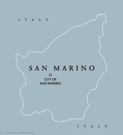 enclave: Most Serene Republic of San Marino political map with capital City of San Marino. Enclaved microstate surrounded by Italy. Gray illustration with English labeling, isolated on white background. Vector