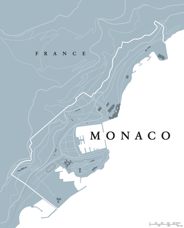 sovereign: Monaco political map. Principality, sovereign city- and microstate on French Riviera in Western Europe bordering on France. Gray illustration, English labeling, isolated on white background. Vector.