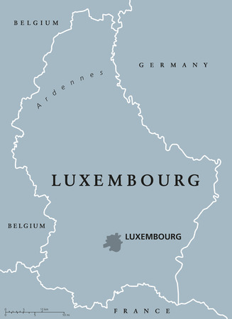 landlocked: Luxembourg political map with capital, national borders and neighbor countris. Grand Duchy of Luxembourg, a landlocked country in Western Europe. Gray illustration with English labeling. Vector.