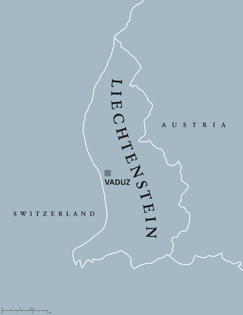 landlocked: Liechtenstein political map with capital Vaduz, national borders and neighbor countries. Principality and landlocked microstate in Central Europe. Gray illustration with English labeling. Vector. Illustration