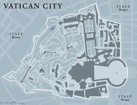 enclave: Vatican City State political map.