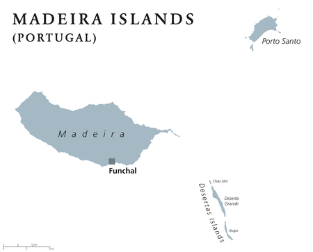 archipelago: Madeira Islands political map with capital Funchal. Portuguese archipelago in the North Atlantic Ocean including Madeira, Porto Santo and the Desertas. Gray illustration with English labeling. Vector. Illustration