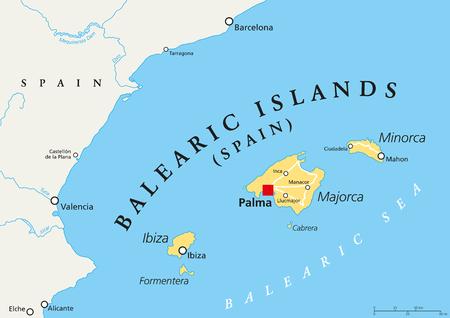archipelago: Balearic Islands political map with capital Palma. Archipelago of Spain in Mediterranean Sea near Iberian Peninsula coast. Majorca, Minorca, Ibiza, Formentera. lllustration. English labeling. Vector