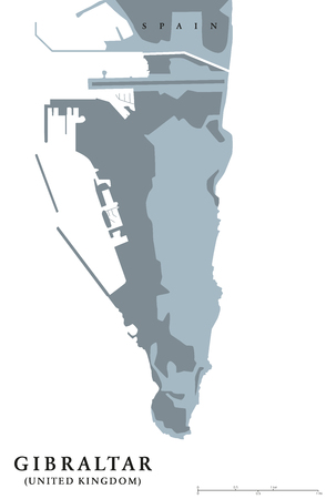 british english: Gibraltar political map. British Overseas Territory on southern end of Iberian Peninsula. The Rock of Gibraltar shares its northern border with Spain. Gray illustration with English labeling. Vector.