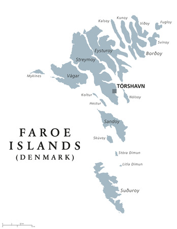 archipelago: Faroe Islands political map with capital Torshavn, also the Faeroes. Autonomous country and part of the Kingdom of Denmark. Archipelago in North Atlantic. Gray illustration. English labeling. Vector. Illustration
