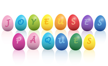 french: JOYEUSES P?,QUES - Happy Easter french phrase - written with colorful easter eggs. Isolated vector illustration on white background.