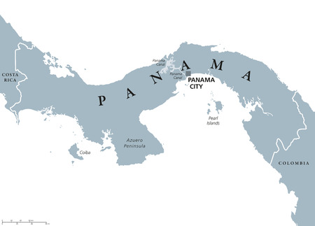 Panama political map with capital Panama City, national borders, neighbor countries and the Panama Canal. Republic in North and Central America. Gray illustration, English labeling, over white. Vector