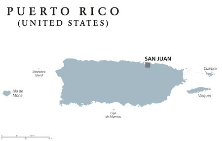 unincorporated: Puerto Rico political map with capital San Juan. Commonwealth and country, also called Porto Rico. Unincorporated territory of the United States. Gray illustration over white. English labeling. Vector