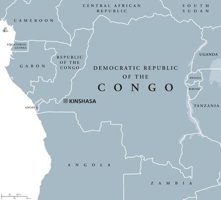 tanganyika: Democratic Republic of the Congo political map with capital Kinshasa. Also DR Congo, DRC, DROC or East Congo. Country in Central Africa. Gray illustration on white background. English labeling. Vector Illustration
