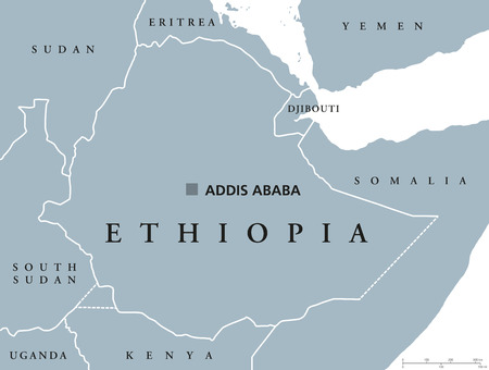 Ethiopia political map with capital Addis Ababa and borders. Federal Democratic Republic and a country located in the Horn of Africa. Gray illustration isolated over white. English labeling. Vector. Illustration