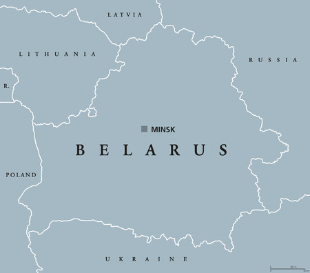 landlocked: Belarus political map with capital Minsk, national borders and neighbors. Formerly known as Byelorussia. Republic and landlocked country in Eastern Europe. Gray illustration. English labeling. Vector.