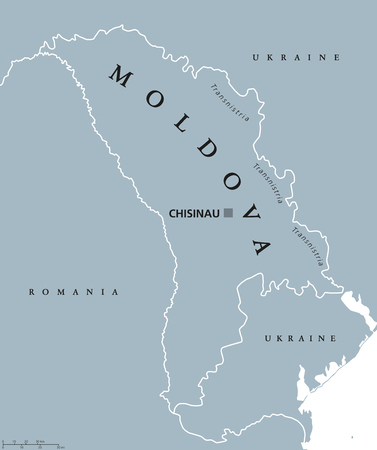 landlocked country: Moldova political map with capital Chisinau, Transnistria, national borders and neighbors. Also Moldavia, landlocked republic and country in Eastern Europe. Gray illustration. English labeling. Vector
