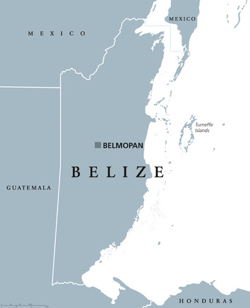 british english: Belize political map with capital Belmopan and national borders. Formerly British Honduras, country on eastern coast of Central America. Gray illustration on white background. English labeling. Vector